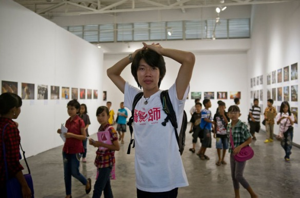 Me during a guided tour with a group of primary school children at The Sweet and Sour Story of Sugar exhibition in Langgeng Art Foundation, Yogyakarta, 11 January 2013. Photo: Yong Yen Nie